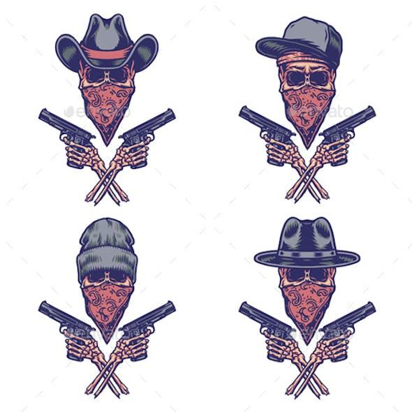 Set of Bandits Holding Gun