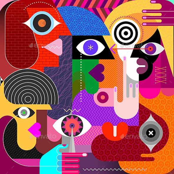 Five People Vector Illustration