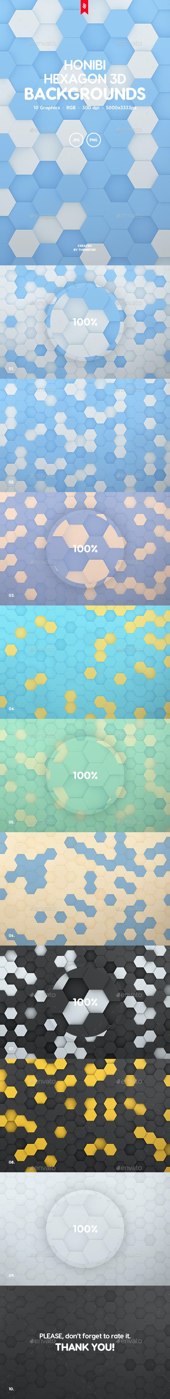 Honibi - Hexagon 3D Background Set - Abstract Backgrounds