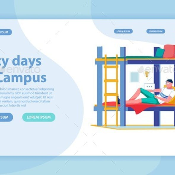 Lazy Day in College Campus Landing Page and Banner