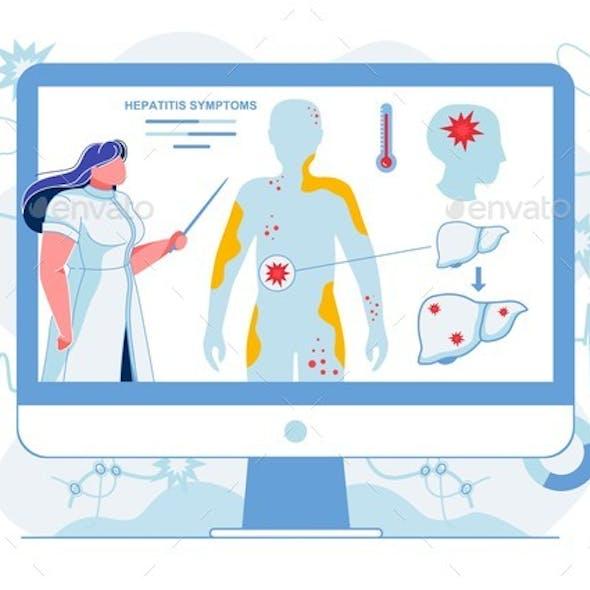 Doctor Explaining Hepatitis Symptoms Illustration