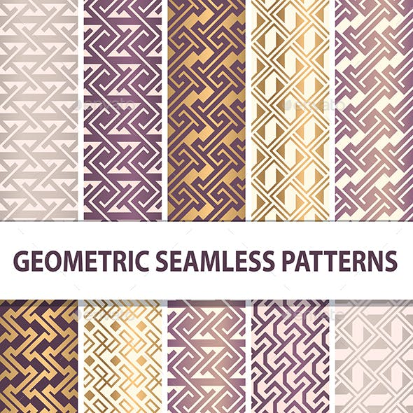 Set of Abstract Geometrical Seamless Patterns