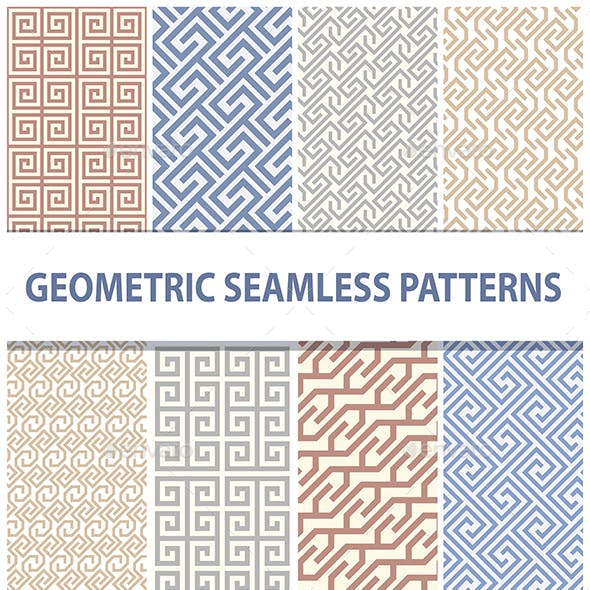Set of Decorative Geometrical Seamless Patterns