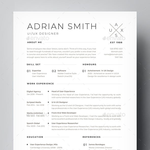 Modern, Clean & Minimalist Multi-Purpose A4 CV / Resume Template