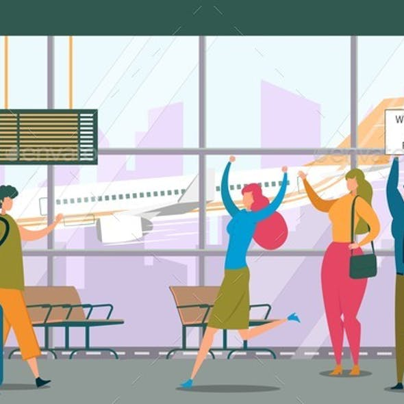 Friend Meeting in Airport Flat Vector Illustration