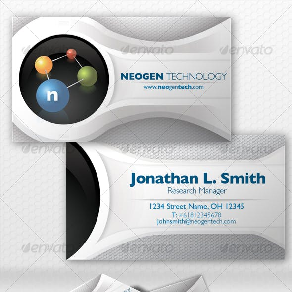 Simple White Futuristic Business Card