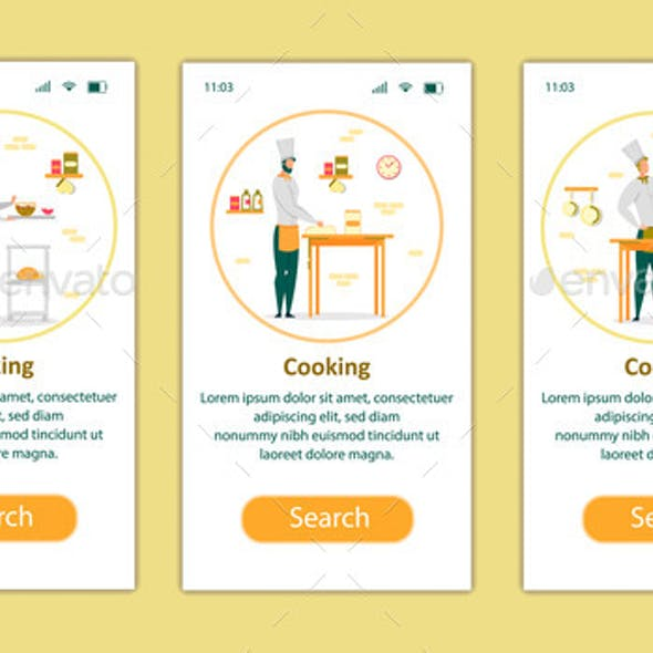 Cooking Process Mobile App Page Onboard Screen Set