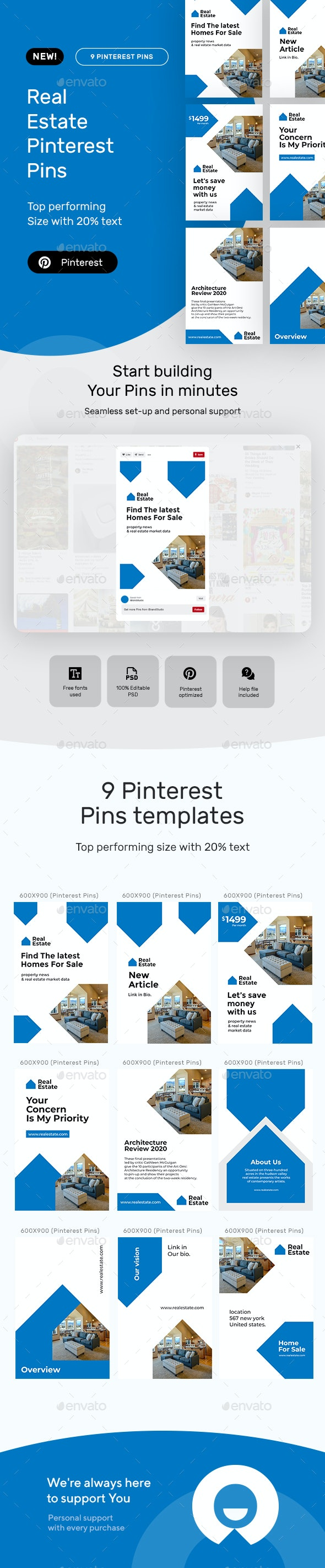 Real Estate Pinterest Pins - Social Media Web Elements