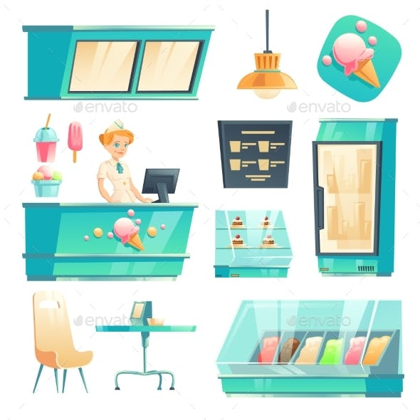 Ice Cream Shop Interior Set with Seller at Counter