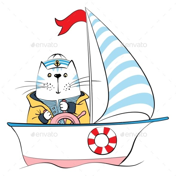 Vector Cat Captain on the Ship
