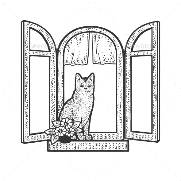 Cat in Windows Sketch Vector Illustration - Animals Characters