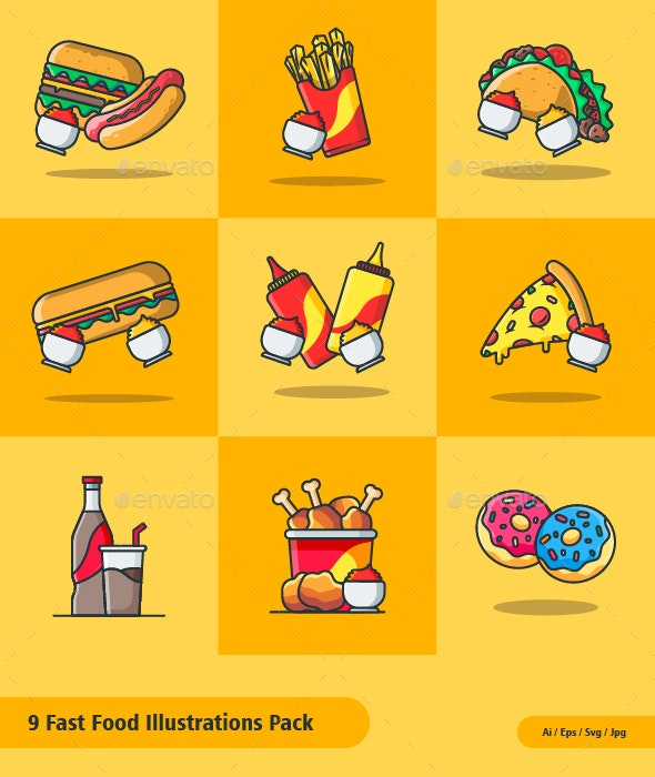 Fast Food Illustrations Pack - Food Objects
