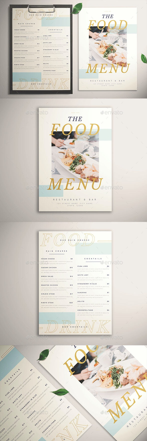 Hipstery Food Menu - Restaurant Flyers