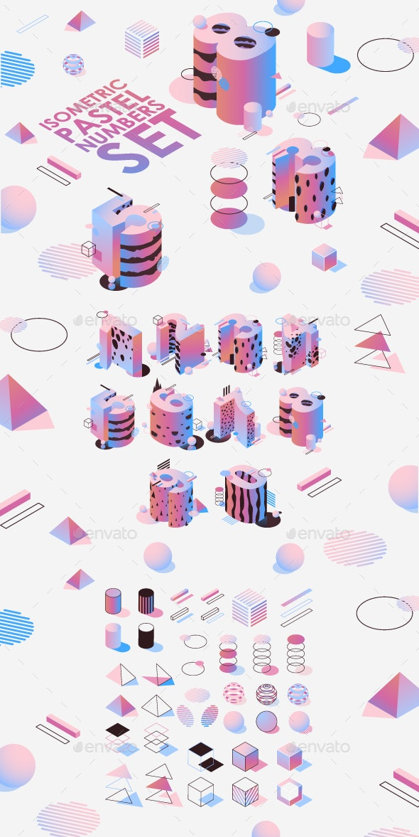 Pastel Isometric Numbers Set - Abstract Conceptual