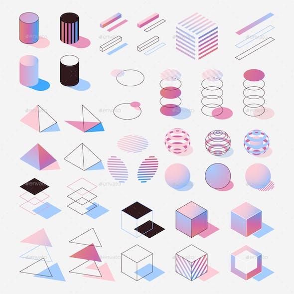 Pastel Isometric Numbers Set
