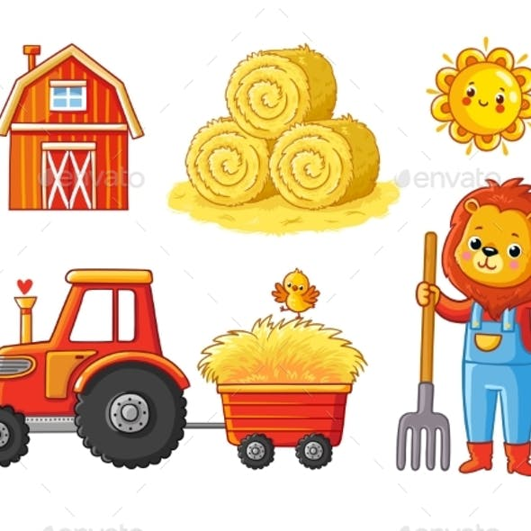 Vector Set on a Farm Theme on a White Background