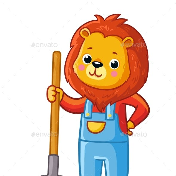 Lion Stands with a Pitchfork in His Hand