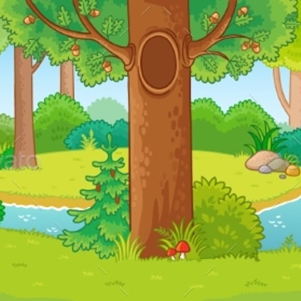 Vector Illustration with Summer Forest and Small