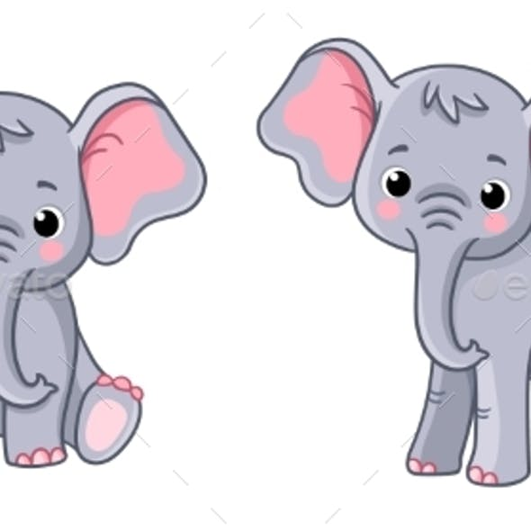 Set with Little Elephants in Different Poses