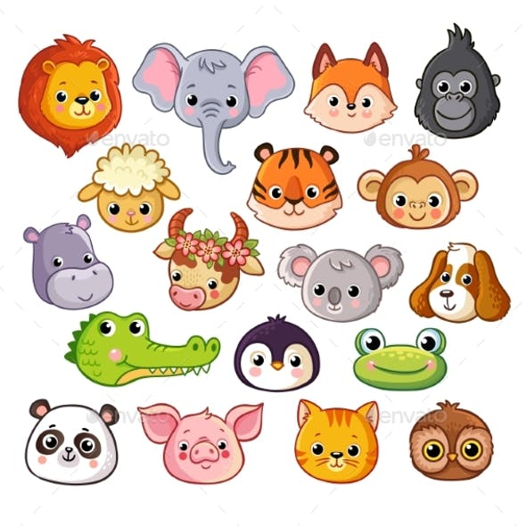 Vector Set with Animals in Cartoon Style