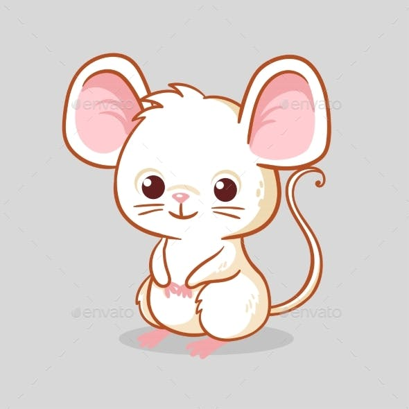 Little Mouse Sitting on a Gray Background