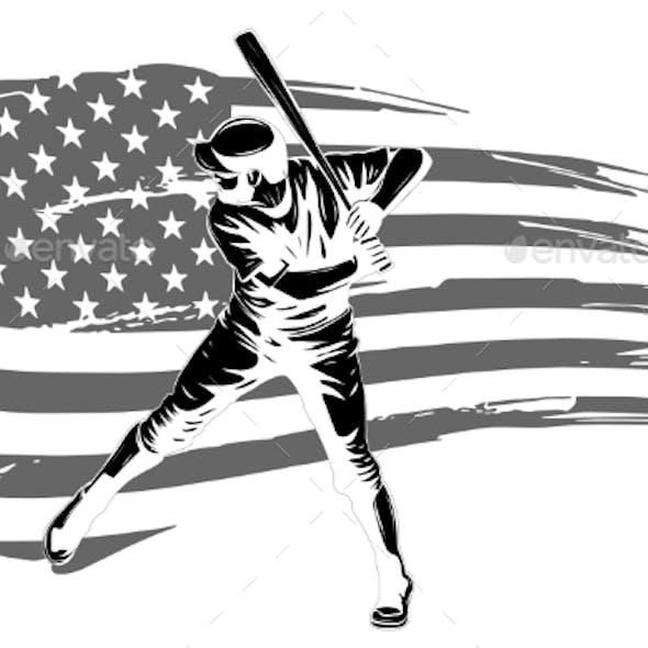 Vector Illustration of a Baseball Player Hitting