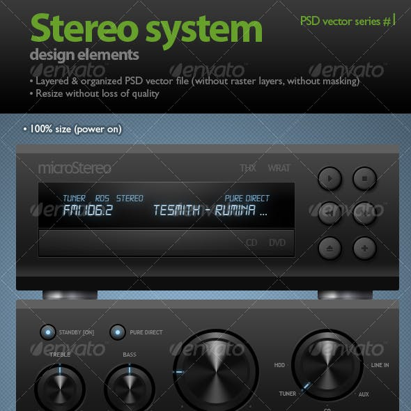 Stereo system (black knobs & buttons)