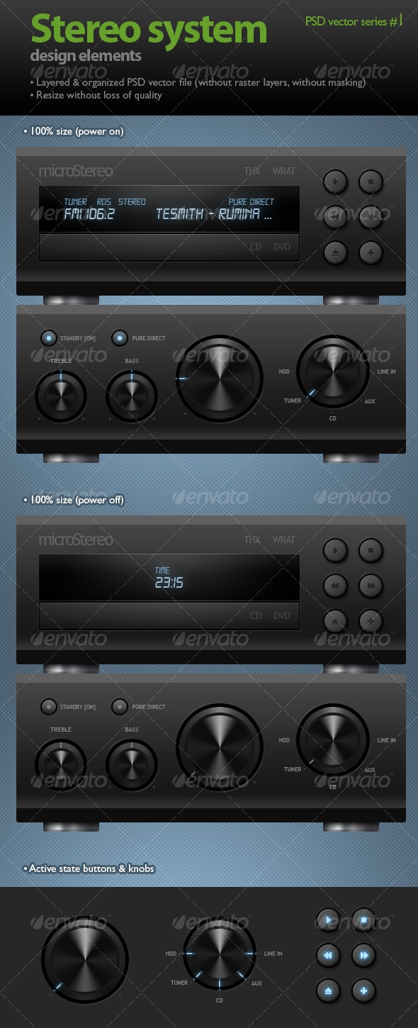 Stereo system (black knobs & buttons) - Web Elements