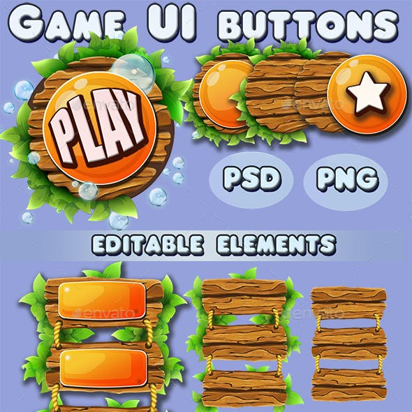 Game UI Wooden Buttons