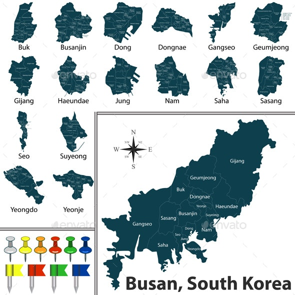 Map of Busan with Districts - Travel Conceptual