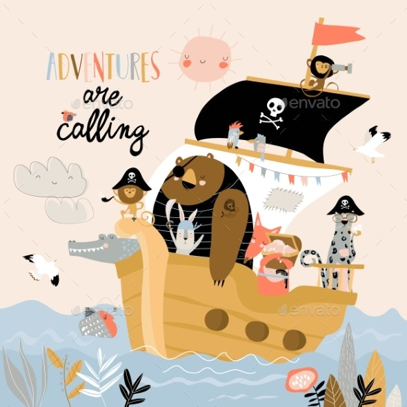 Cartoon Animals Pirates Sailing in Their Ship - Animals Characters
