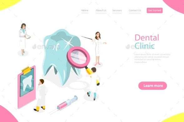 Isometric Flat Vector Landing Page Template - Health/Medicine Conceptual