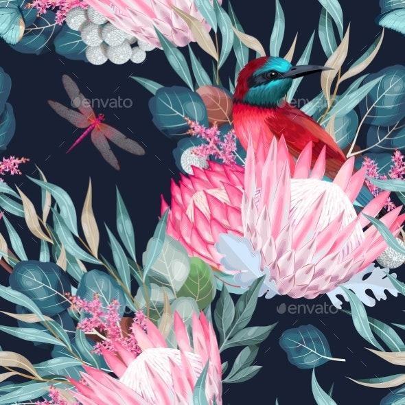 Vector Seamless Pattern with Birds and Protea - Flowers & Plants Nature