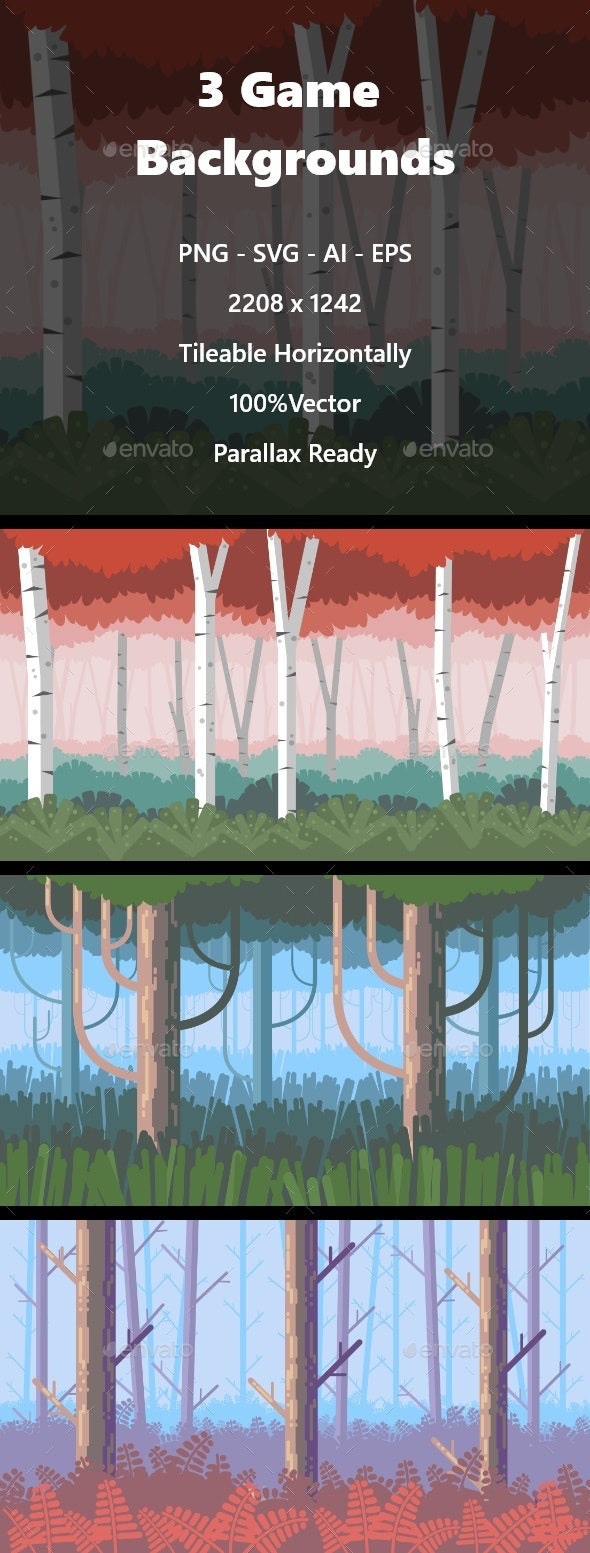 3 Forest Backgrounds Pack - Backgrounds Game Assets
