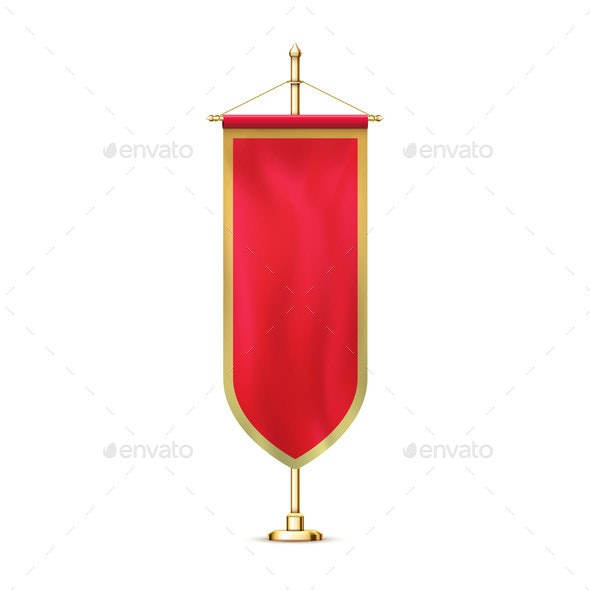 Blank Red Pennant Flag Mockup Banner Hanging - Miscellaneous Vectors