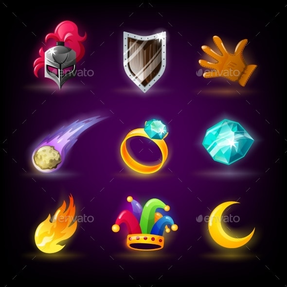 Colorful Slots Icon Set for Casino Slot Machine - Miscellaneous Vectors