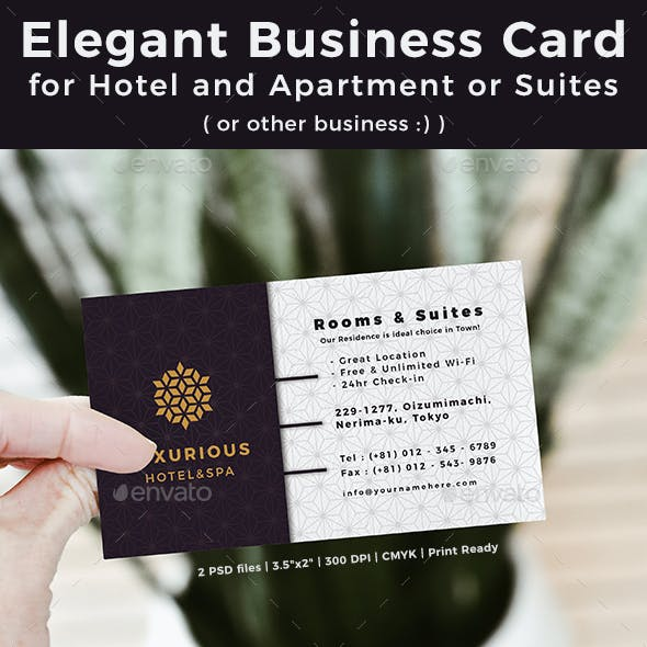 Elegant Business Card for Hotel and Apartment or Suites