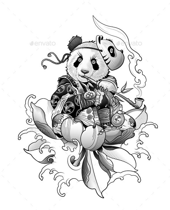 Panda Bear Smokes a Pipe and Meditates - Animals Characters