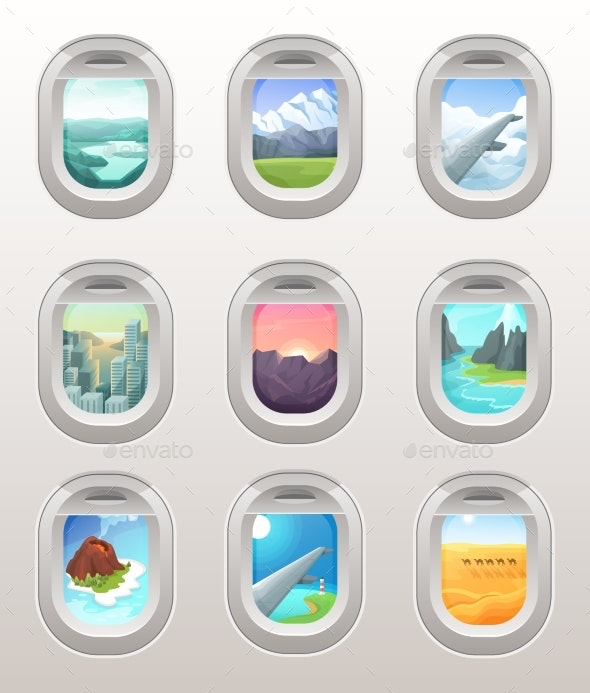 Airplane Window View Vector Illustration Set - Landscapes Nature