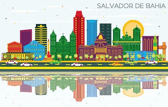 Salvador de Bahia Brazil City Skyline with Color Buildings - Buildings Objects
