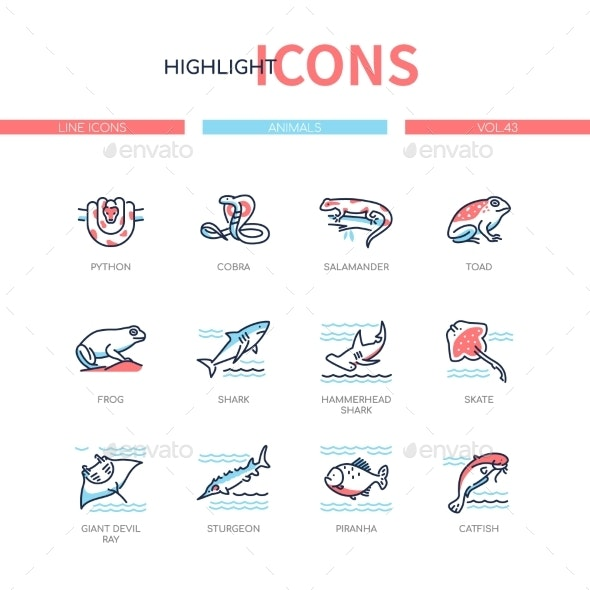 Animals Collection - Line Design Style Icons Set - Animals Characters