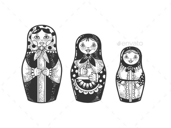 Matryoshka Doll Sketch Vector Illustration - Miscellaneous Vectors