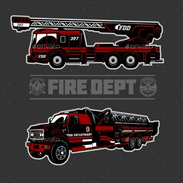 Fire Truck - Fire Departament Emblem Vector - Man-made Objects Objects