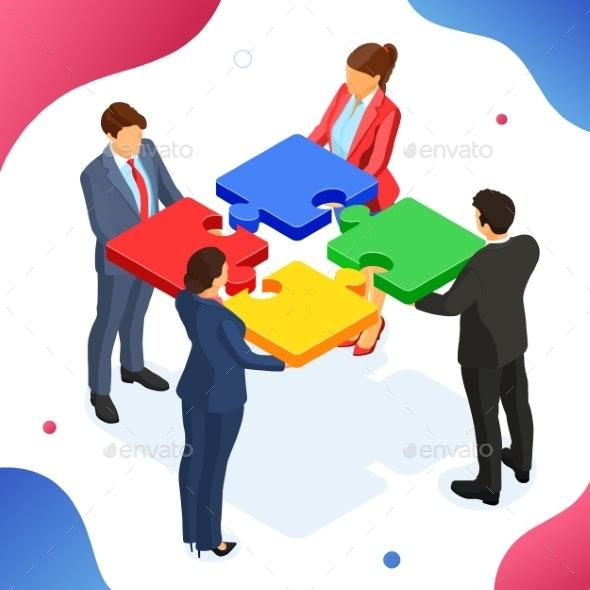 Partnership Teamwork Business Men and Women - Concepts Business