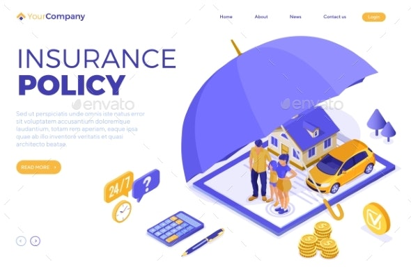 Family Car Home Insurance Isometric - Industries Business