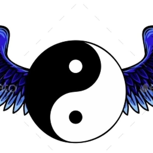Traditional Chinese Yin-Yang Symbol with Raised Up
