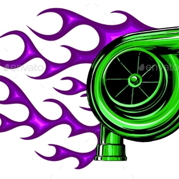 Vector Illustration Automobile Turbo Charger