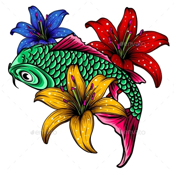 Hand Drawn Outline Koi Fish and Water Splash - Flowers & Plants Nature