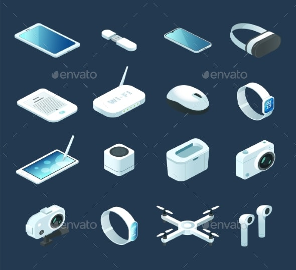 Isometric Digital Technology Device Vector - Man-made Objects Objects