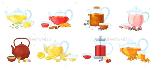 Healthy Herbal Nature Different Tea with Vitamin - Food Objects